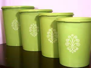vintage lime green tupperware canister set of 4 by
