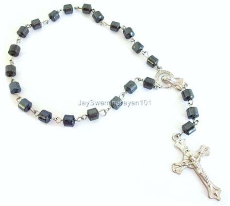 rosary for car mirror black hematite beaded car auto rosary rear view mirror