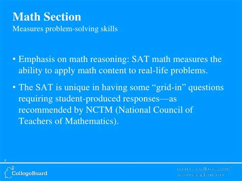 Sat Math Section by Sat Math Overview From College Board