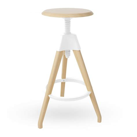 White Stool by White Wood Adjustable Stool