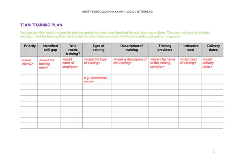 team plan template plan template free documents for pdf
