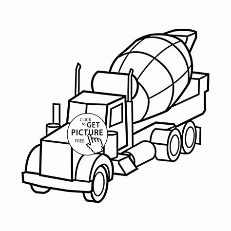 concrete coloring cement mixer truck coloring page for preschoolers