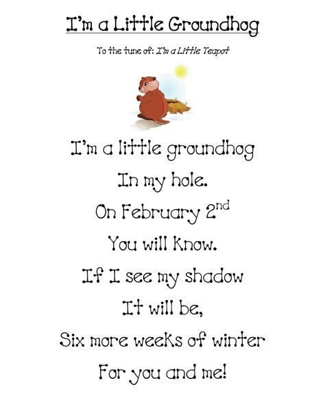 groundhog day poem groundhog day in grade