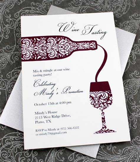 wine card template wine tasting invitation template invitation