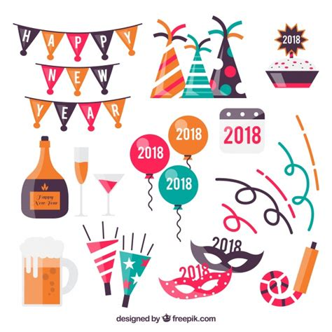 new year element free pack of new year elements vector free