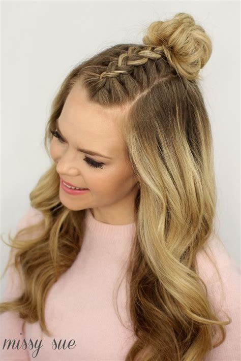 put your hair in a bun with braids mohawk braid top knot hair tutorials pinterest