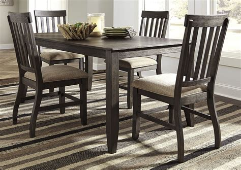 rectangular dining room table curly s furniture dresbar grayish brown rectangular dining room table w 4 side chairs