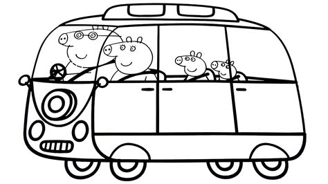 peppa pig car coloring pages peppa pig family in new car coloring book coloring pages