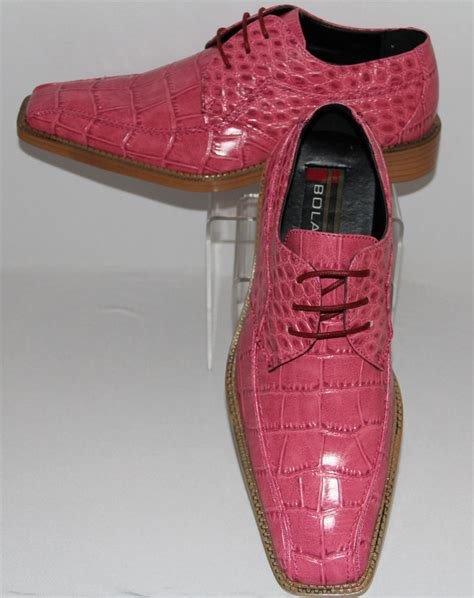 mens pretty pink faux alligator look modern dress