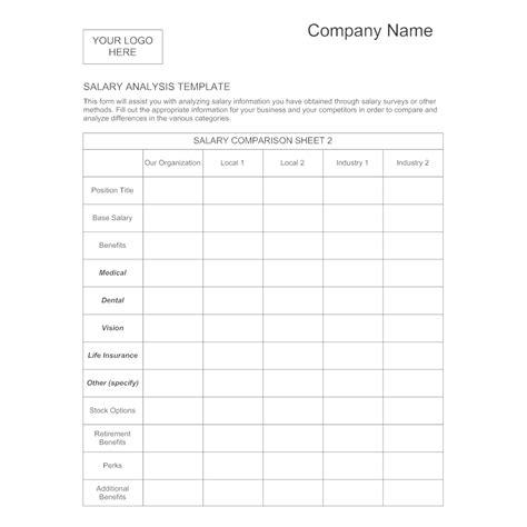 Salary Analysis Template 1 Sle Compensation Analysis Template