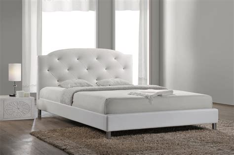 white queen size bed baxton studio bbt6440 queen white canterbury white leather contemporary queen size bed