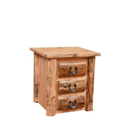 Rustic Nightstand Amish Crafted Furniture - knotty pine three drawer nightstand amish crafted furniture