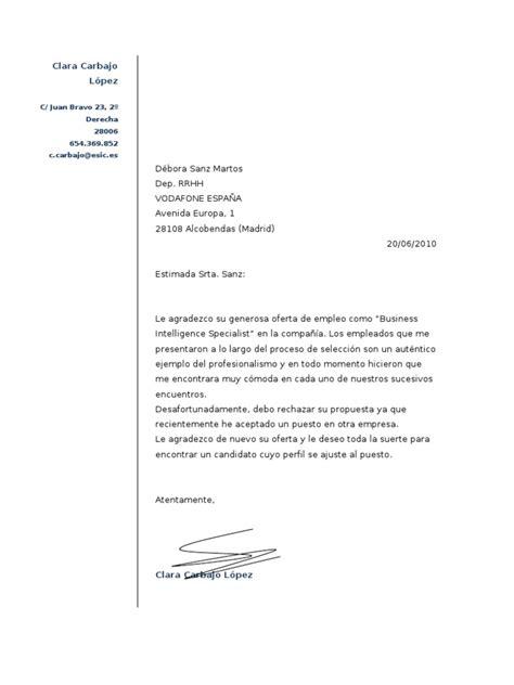 carta de rechazo de compra ejemplo carta para rechazar una oferta