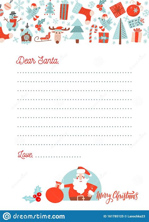 christmas letter santa claus template decorated