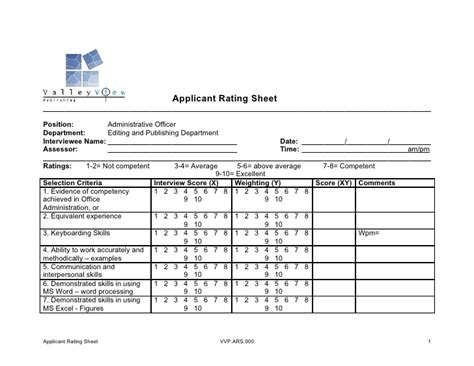 Applicant Rating Sheet Quiz Competition Score Sheet Template