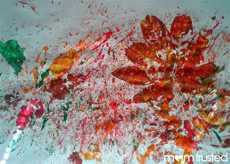 preschool painting with leaves paint splatter leaf artwork messy fun for your