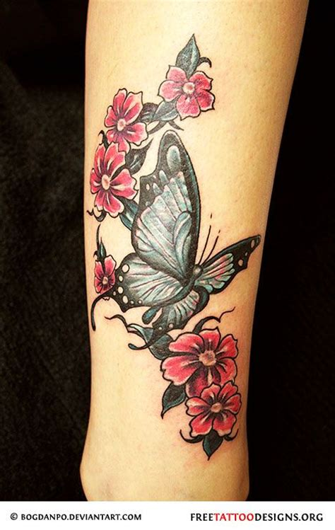 cute butterfly and flower tattoo on hand tattoomagz