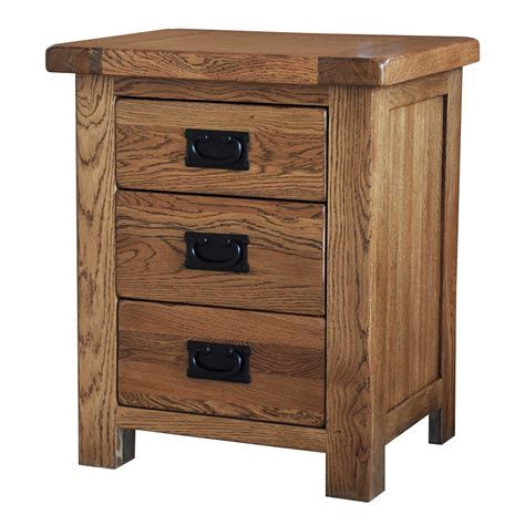 Bedside Table Country Oak Bedside Table 3 Drawers Realwoods