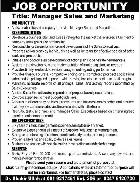 Director Of Sales And Marketing by Manager Sales Marketing 2018 Others Companies In Islamabad Pakistan
