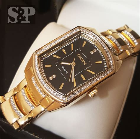 mens gold tone bling iced out cz elgin rectangle dress