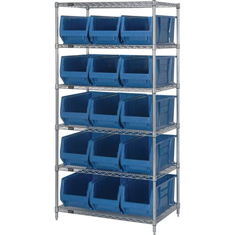 Storage Shelving Systems Quantum Storage Bin Shelving System 24in L X 36in W