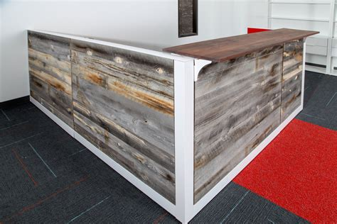 Wood Reception Desks Reclaimed Wood Reception Desk Welcome Desk Front Desk