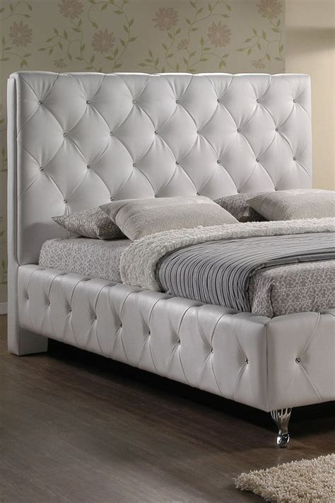 stella crystal tufted white modern bed with upholstered headboard best 25 white upholstered headboard ideas on pinterest