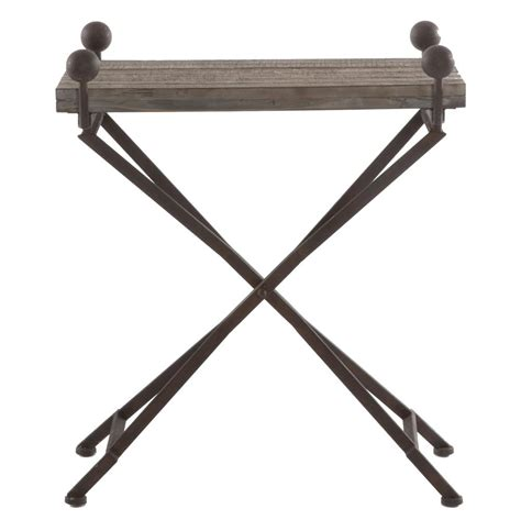 Folding Side Table Country Reclaimed Wood Folding Wrought Iron Side Table S Kathy Kuo Home