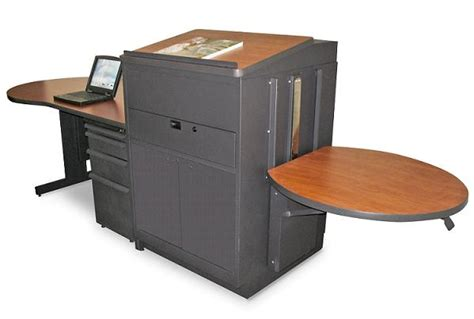 Media Workstation Desk by Marvel Desk W Media Center Lectern Steel Doors Mvldm7230 Desks