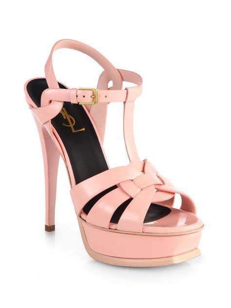 pink platform sandals laurent tribute patent leather platform sandals in