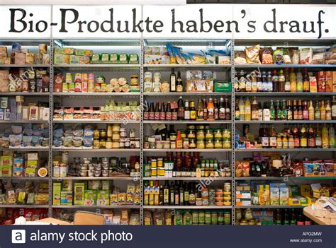 Organic Food Shelf by Shelf Filled With Organic Food In A Health Food Shop Stock