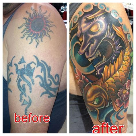 tribal tattoos cover up ideas tribal cover up with japanese mask and koi