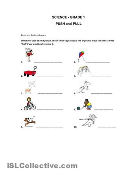 And Motion Worksheets by Forces Printable And Pull Worksheet Free Esl