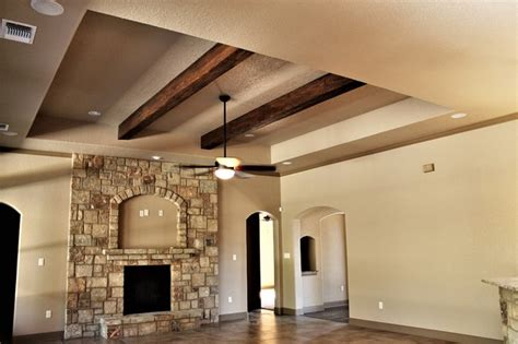 Tray Ceiling with Faux Wood Beams Traditional Family Room Other by RJS Custom Homes LLC