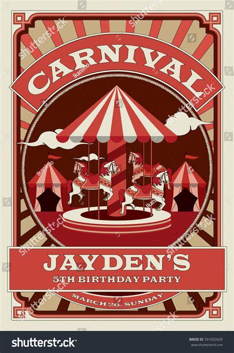 merry go template carnival funfair birthday invitation template circus stock