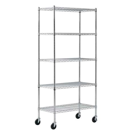 Sandusky 5 Shelf Heavy Duty Mobile Wire Shelving Unit 36 Heavy Duty Wire Shelving