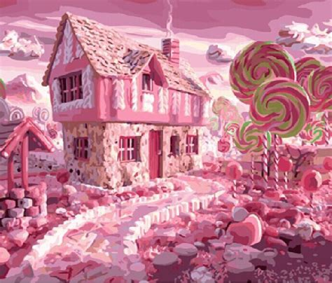 candy house 2015 new paint by number diy digital oil painting kit decorative picture pink candy