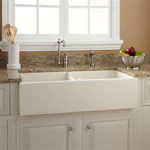 double sink kitchen 33 quot baldwin double bowl fireclay farmhouse sink smooth