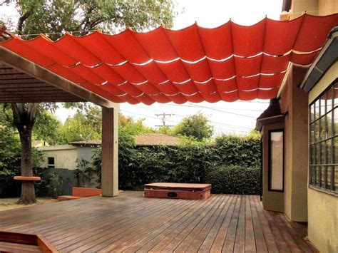 backyard awnings fabric wire deck patio canopy ideas hazel pinterest