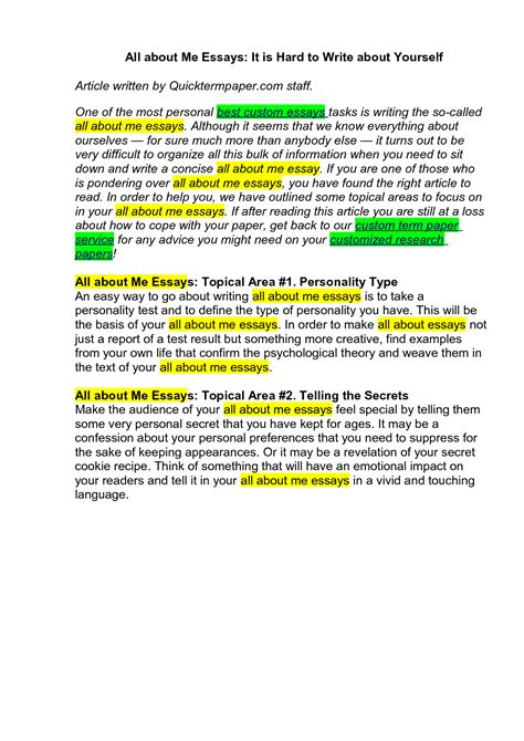 Writing College Essays About Yourself by Writing A Personal Essay About Yourself Www Pendle Net