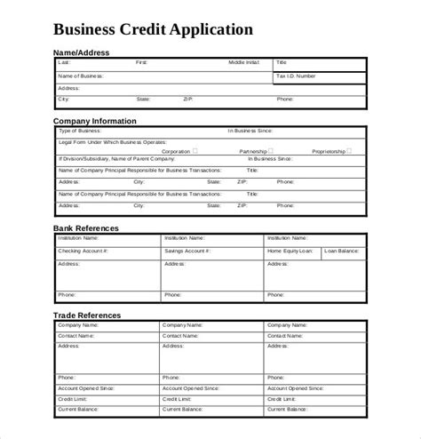 credit application template 32 exles in pdf word