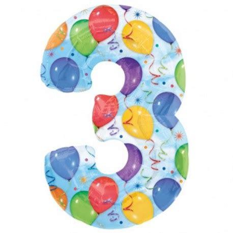 """globos de foil de 40"""" (101cm) numero 3 globos de colores"""