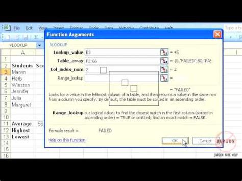 tutorial for vlookup in excel 2003 excel 2003 vlookup function tutorial new youtube