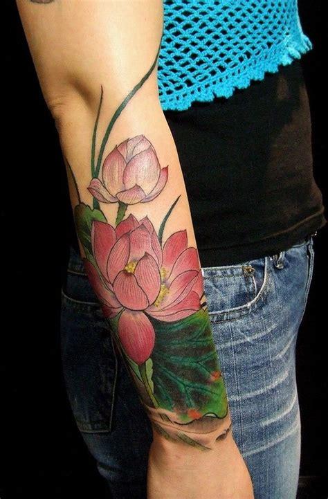 lotus leaf tattoo meaning watercolor lotus half sleeve tattoo on forearm flower