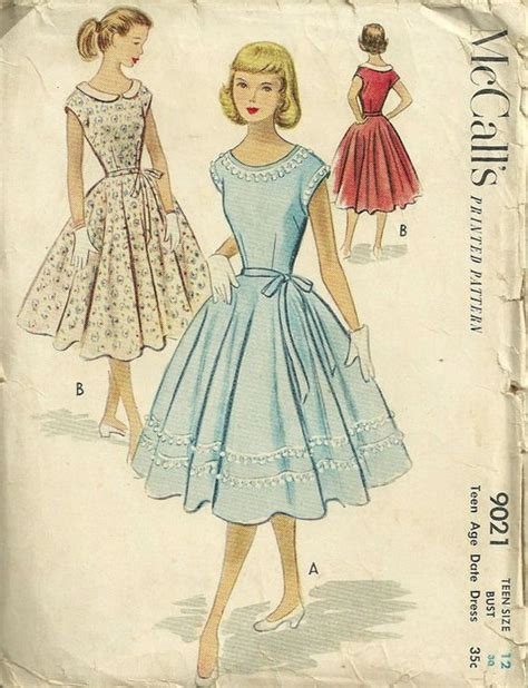 clothes pattern magazine 1950s mccalls 9021 teen date dress pattern with full