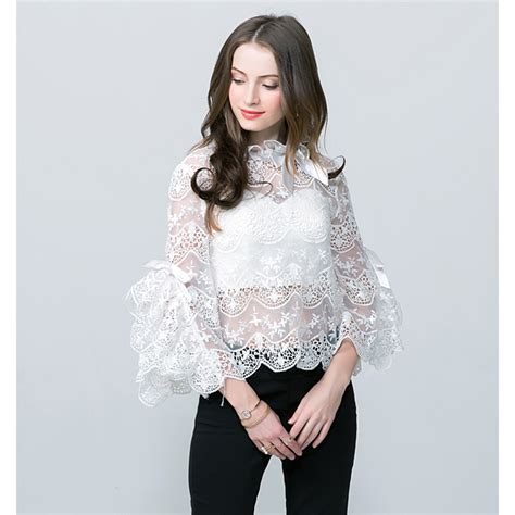 Sale Blouse High Quality aliexpress buy high quality new fashion 2017 designer blouse s flare sleeve bow lace