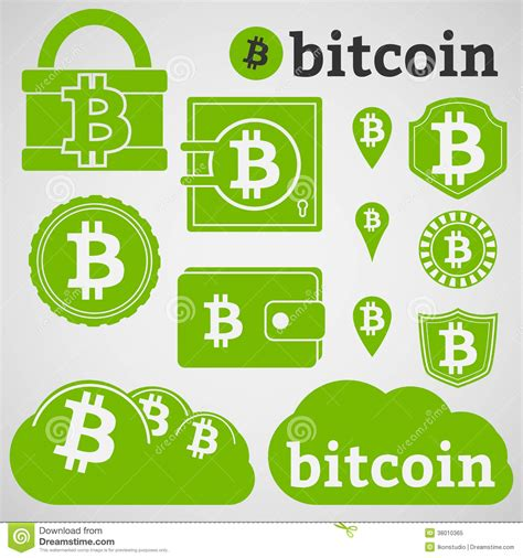 Bitcoin Currency Icons Set stock vector. Illustration of ... B