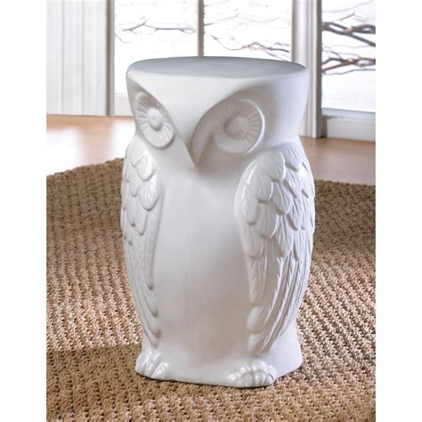 White Ceramic Table L by White Ceramic Owl Stool Or Side Table Owl Delights