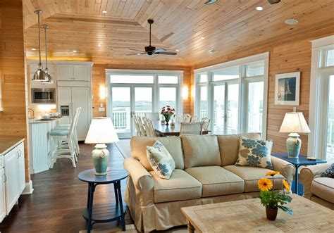 Knotty pine ceiling living room rustic with recessed