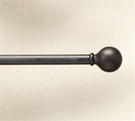 Cast Iron Ball Finial Drape Rod Traditional Curtain